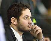Eric Ringel (Notre Dame - Undergrad Assistant Coach) - The University of Notre Dame Fighting Irish defeated the Merrimack College Warriors 4-3 in overtime in their NCAA Northeast Regional Semi-Final on Saturday, March 26, 2011, at Verizon Wireless Arena in Manchester, New Hampshire.