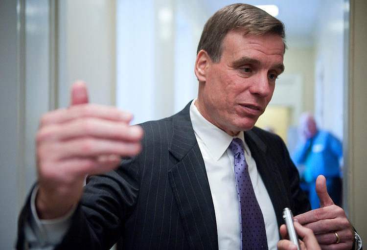 UNITED STATES – OCTOBER 12: Sen. Mark Warner, D-Va., speaks with reporters as he arrives for the Senate Democratic Policy Committee lunch on Wednesday Oct. 12, 2011. (Photo By Bill Clark/CQ Roll Call)