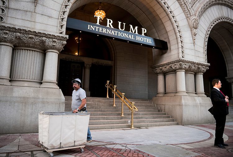 UNITED STATES - SEPTEMBER 12: Construction work on the Trump International Hotel on Pennsylvania Avenue in Washington continues as the hotel prepares to open to the public on Monday, Sept. 12, 2016. (Photo By Bill Clark/CQ Roll Call)