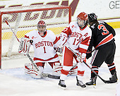 Kerrin Sperry (BU - 1), Catherine Ward (BU - 17), Katie MacSorley (NU - 3) - The Northeastern University Huskies tied Boston University Terriers 3-3 in the 2011 Beanpot consolation game on Tuesday, February 15, 2011, at Conte Forum in Chestnut Hill, Massachusetts.