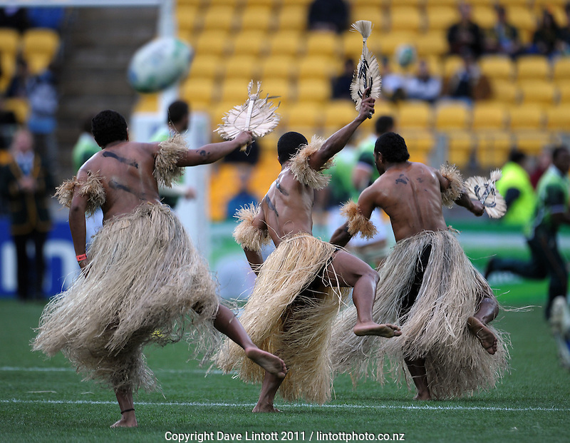 Dancers entertain the crowd before the South Africa versus Fiji pool D match of the 2011 IRB Rugby World Cup at Wellington Regional Stadium, Wellington, New Zealand on Saturday, 17 September 2011. Photo: Dave Lintott / lintottphoto.co.nz