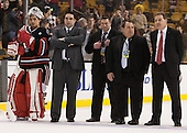 Derick Roy (NU - 1), Mark Phalon (NU - Dir, Hockey Ops), Jerry Keefe (NU - Assistant Coach), Ed Walsh, Jim Madigan (NU - Head Coach) - The Boston College Eagles defeated the Northeastern University Huskies 6-3 on Monday, February 11, 2013, at TD Garden in Boston, Massachusetts.