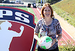 26 September 2010: Outgoing WPS Commissioner Tonya Antonucci during a ceremony held before the game. FC Gold Pride defeated the Philadelphia Independence 4-0 at Pioneer Stadium in Heyward, California in the Women's Professional Soccer championship game.