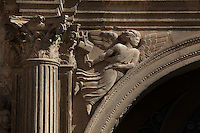 Fluted column and capital with flying angel, portal of the Royal Schools, 16th century, Tortosa, Tarragona, Spain. Founded by Charles V for the purpose of educating the Moors, the Royal Schools are some of the best examples of Renaissance civil architecture in Catalonia. Picture by Manuel Cohen