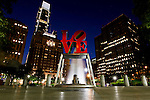 The Love Park Statue in Philadelphia at night as seen on Monday August 8th 2011. (Photo By Brian Garfinkel)