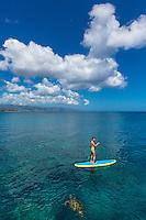 A woman standup paddles past a curious honu (green sea turtle) in the calm waters of Waimea Bay, O'ahu.