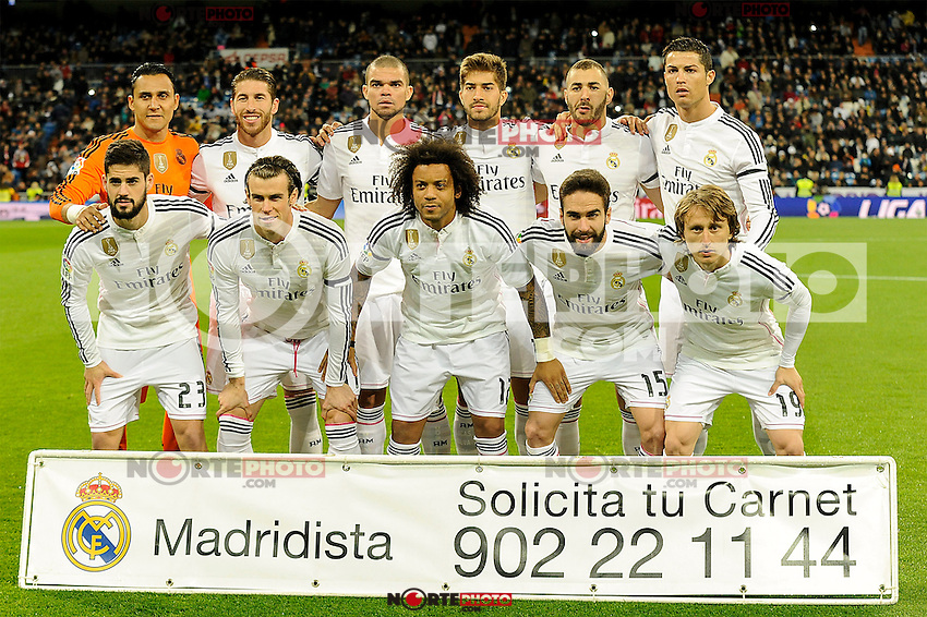 Real Madrid´s goalkeeper Keylor Navas, Pepe, Sergio Ramos, Cristiano Ronaldo, Karim Benzema, Gareth Bale, Marcelo Vieira, Daniel Carvajal, Lucas Silva, Luka Modric and Isco during 2014-15 La Liga match between Real Madrid and Levante UD at Santiago Bernabeu stadium in Madrid, Spain. March 15, 2015. (ALTERPHOTOS/Luis Fernandez) /NORTEphoto.com