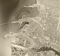 historical aerial photograph Oakland, California, 1968