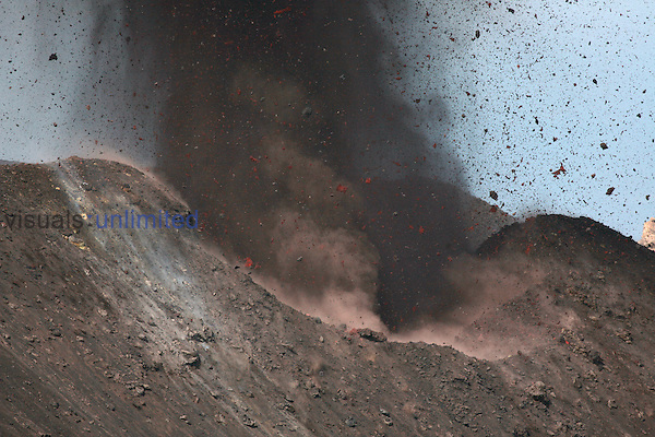 Ash-rich strombolian eruption close-up showing volcanic bombs. Stromboli Volcano, Eolian Islands, Italy. 2006
