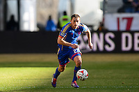 Shane O'Neill (27) of the Colorado Rapids. The New York Red Bulls and the Colorado Rapids played to a 1-1 tie during a Major League Soccer (MLS) match at Red Bull Arena in Harrison, NJ, on March 15, 2014.