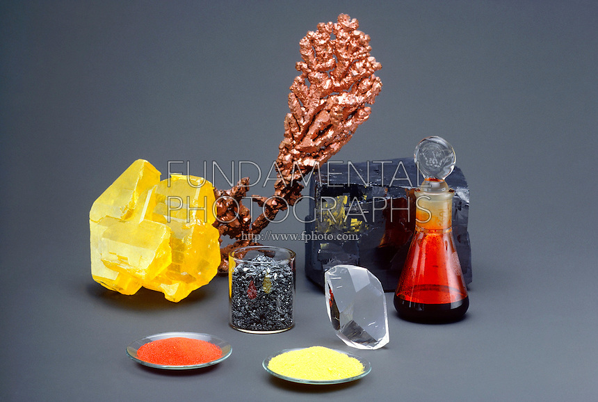 ELEMENTS - METALS AND NONMETALS<br /> Assortment of Elements<br /> Clockwise from left: sulfur, copper, lead sulfide, bromine, quartz, potassium chromate, mercuric oxide, and iodine.