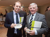 ***NO FEE PIC ***<br /> 23/04/2015<br /> (L to r) Glen O' Connor Burke Shipping Group &amp; Jimmy Carolan <br /> during the  launch by the Irish Maritime Development Office (IMDO) of its Irish Maritime Transport Economist report at the Morrison Hotel , Dublin.<br /> Photo:  Gareth Chaney Collins