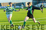 Fenit's Ciaran Carmody  and Celtic's Neilus McKessy in  the Munster Youth Cup Kerry Area Final Fenit Samphires V Listowel Celtic at Mounthawk Park on Saturday