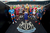 Picture by Allan McKenzie/SWpix.com - 15/05/2017 - Rugby League - Dacia Magic Weekend 2017 Preview - St James Park, Newcastle, England - 12 Super League representatives pose with the Betfred Super League trophy ahead of the Dacia Magic Weekend at St James's Park in Newcastle.
