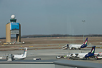 View of the control tower and planes on the tamrac as seen from the lounge of the new Skycourt building at the Budapest Airport in Budapest, Hungary on March 08, 2011. ATTILA VOLGYI
