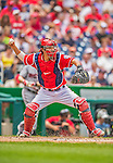 9 June 2013: Washington Nationals catcher Kurt Suzuki in action against the Minnesota Twins at Nationals Park in Washington, DC. The Nationals shut out the Twins 7-0 in the first game of their day/night double-header. Mandatory Credit: Ed Wolfstein Photo *** RAW (NEF) Image File Available ***