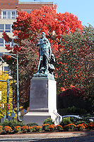 The Lewis and Clark statue with Pocahontas crouching behind located in downtown Charlottesville, VA.  Photo/Andrew Shurtleff