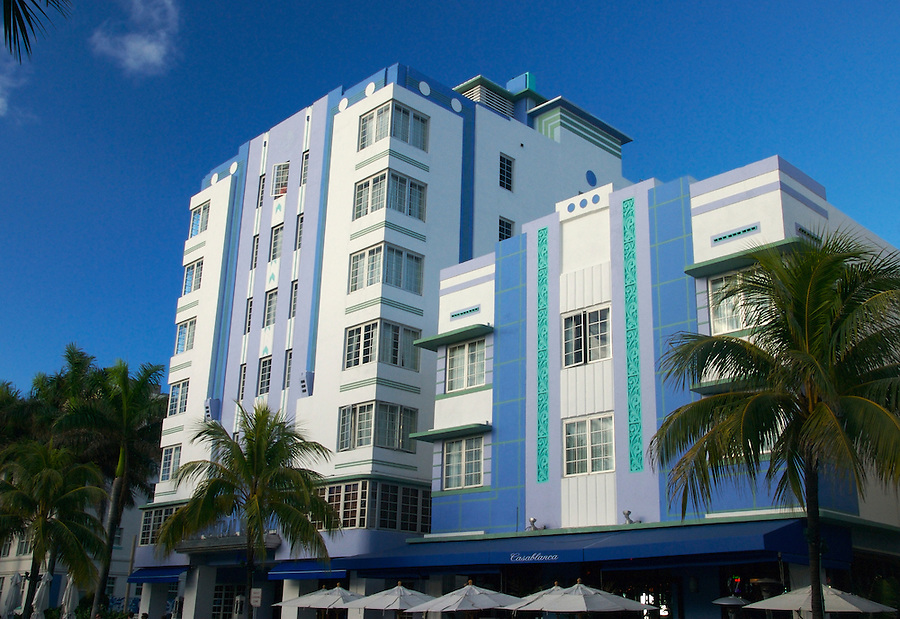 View of Casablanca in Miami Beach, this is a tyoical Art Deco building over Ocean Drive in South Beach. Art Deco buildings are protected in Miami Beach.