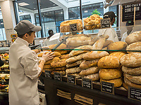 Bakery department in the new Whole Foods Market in Newark, NJ on opening day Wednesday, March 1, 2017. The store is the chain's 17th store to open in New Jersey. The 29,000 square foot store located in the redeveloped former Hahne & Co. department store building is seen as a harbinger of the revitalization of Newark which never fully recovered from the riots in the 1960's.  (© Richard B. Levine)