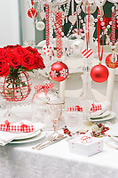 Detail of the dining table laid for a Christmas celebration