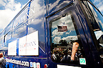 Rep. Michele Bachmann's campaign bus arrives Arnold's Park, Iowa, August 9, 2011.