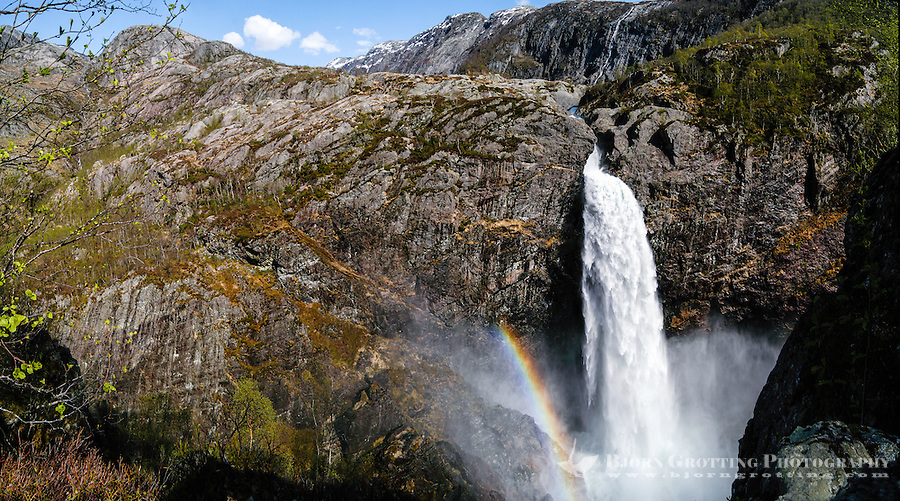 Norway, Frafjord. The Månafossen waterfall. Stitched panorama.