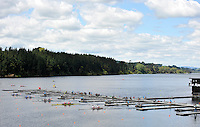 Hamilton, NEW ZEALAND.   GV's General view start area as crews moves away from the start.  2010 World Rowing Championship on Lake Karapiro Monday 01.11.2010. [Mandatory Credit Peter Spurrier:Intersport Images].