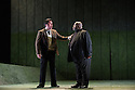 "London, UK. 06.03.2013. English Touring Opera presents SIMON BOCCANEGRA at the Hackney Empire, prior to touring it in rep with ""Cosi Fan Tutte"" and ""The Siege of Calais"". Picture shows: Charne Rochford (Gabriele Adorno) and Keel Watson (Jacopo Fiesco)). Photo credit: Jane Hobson."