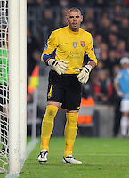 FUSSBALL  CHAMPIONS LEAGUE  VIERTELFINAL RUECKSPIEL   2011/2012      FC Barcelona - AC Mailand           03.04.2012 Torwart Victor Valdes  (Barca)
