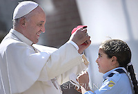 Pope Francis during his visit at Santa Maria Regina Pacis church in Ostia, south of Rome.May 3, 2015