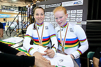 Picture by Alex Whitehead/SWpix.com - 02/03/2017 - Cycling - UCI Para-cycling Track World Championships - Velo Sports Center, Los Angeles, USA - Great Britain's Corrine Hall and Sophie Thornhill celebrate winning Gold in the Women's B 3 km Individual Pursuit final.<br />