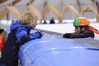 SCHAATSEN: LEEUWARDEN: 08-10-2015, Elfstedenhal, shorttrack Time Trial, Trainster Wilma Boomsma, René de Groot, ©foto Martin de Jong