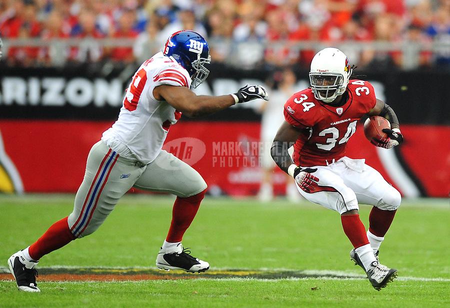 Nov. 23, 2008; Glendale, AZ, USA; Arizona Cardinals running back (34) Tim Hightower against the New York Giants at University of Phoenix Stadium. New York defeated Arizona 37-29. Mandatory Credit: Mark J. Rebilas-