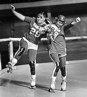 ROLLER DERBY: Eagles Jan Vallow against Chiefs #48<br />(1971 photo/Ron Riesterer)