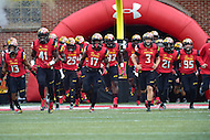 College Park, MD - OCT 1, 2016: the Maryland Terrapins take the field for their game against Purdue at Capital One Field at Maryland Stadium in College Park, MD. The Terps got the win 50-7 over visiting Purdue. (Photo by Phil Peters/Media Images International)