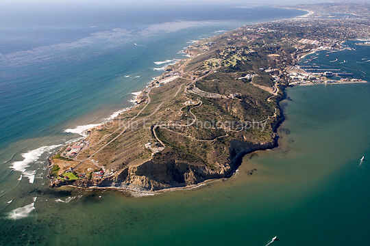 Aerial view of Point Loma, looking northwest, with the mouth of San Diego Bay directly to the east.