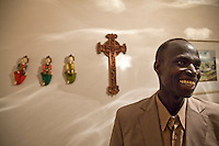 1 July 2009, Sudanese &quot;Lost Boy&quot; Aher Arop Bol at the home of his mentor, Sannie Meiring where he boards. He was born in a Dinka village in the Bahr el Ghazal region of Southern Sudan.  Bol supports his two brothers, with whom he has been reunited, at a boarding school in Uganda. These pictures are of his trip back to Sudan to find his family from whom he had been separated since 1987.