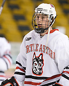 Garrett Vermeersch (NU - 9) - The Northeastern University Huskies defeated the Harvard University Crimson 4-1 (EN) on Monday, February 8, 2010, at the TD Garden in Boston, Massachusetts, in the 2010 Beanpot consolation game.