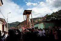 The image of the Virgin Mary is taken in procession on Tuesday during the Holy Week celebrations in Ayacucho, Peru.
