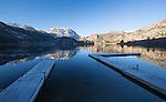 California, east central, June Lake Area. Gull Lake on an autumn morning.