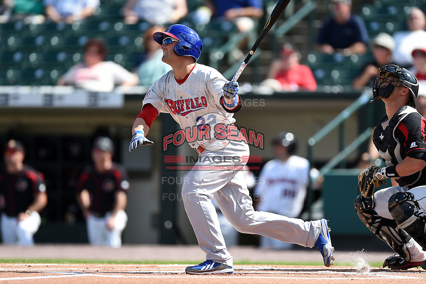Buffalo Bisons outfielder Kevin Pillar (22) at bat during the first game of a doubleheader against the Rochester Red Wings on July 6, 2014 at Frontier Field in Rochester, New  York.  Rochester defeated Buffalo 6-1.  (Mike Janes/Four Seam Images)