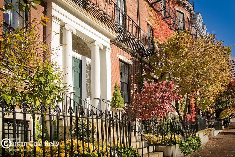 Fall foliage colors the historic architecture on Beacon Hill, Boston, MA