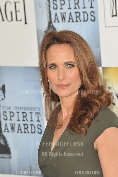 Andie MacDowell at the Film Independent Spirit Awards on the beach at Santa Monica, CA..February 21, 2009  Santa Monica, CA.Picture: Paul Smith / Featureflash