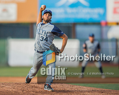 30 July 2016: Brooklyn Cyclones pitcher Nabil Crismatt on the mound against the Vermont Lake Monsters at Centennial Field in Burlington, Vermont. The Lake Monsters defeated the Cyclones 7-1 in NY Penn League play. Mandatory Credit: Ed Wolfstein Photo *** RAW (NEF) Image File Available ***