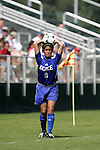 Rachel-Rose Cohen, of Duke, makes a throw-in on Sunday October 2nd, 2005 at SAS Stadium in Cary, North Carolina. The Duke University Blue Devils defeated the North Carolina State University Wolfpack 1-0 during an Atlantic Coast Conference women's soccer game.