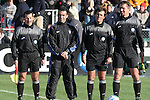 16 December 2007: From left: Assistant Referee Miguel Chicas, Alternate Official Chico Grajeda, Referee Misail Tsapos, Assistant Referee Arkadiusz (Alex) Prus. The Wake Forest University Demon Deacons defeated the Ohio State Buckeyes 2-1 at SAS Stadium in Cary, North Carolina in the NCAA Division I Mens College Cup championship game.