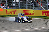 Filipe Nasr (Finland) car number 12 for team Sauber Formula 1 hits the brakes hard at the hairpin corner at Circuit Gilles-Villeneuve in Montreal for the Canadian Grand Prix