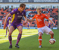 Blackpool's Mark Cullen takes on Cheltenham Town's Will Boyle<br /> <br /> Photographer Alex Dodd/CameraSport<br /> <br /> The EFL Sky Bet League Two - Blackpool v Cheltenham Town - Saturday 22nd April 2017 - Bloomfield Road - Blackpool<br /> <br /> World Copyright &copy; 2017 CameraSport. All rights reserved. 43 Linden Ave. Countesthorpe. Leicester. England. LE8 5PG - Tel: +44 (0) 116 277 4147 - admin@camerasport.com - www.camerasport.com