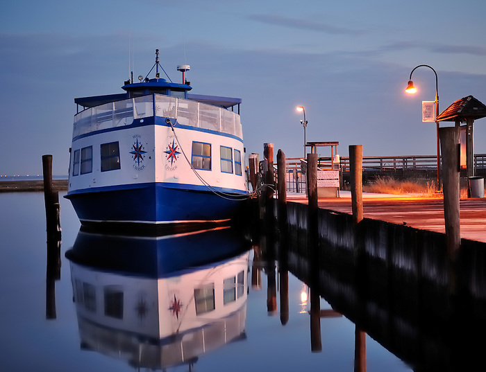 Moon Chaser at Dawn in Color at Captree Boat Basin in Fire Island