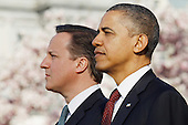 United States  President Barack Obama (R)  welcomes British Prime Minister David Cameron during an official arrival ceremony at the South Lawn of the White House March 14, 2012 in Washington, DC. Prime Minister Cameron was on a three-day visit in the U.S. and he was expected to have talks with President Obama on the situations in Afghanistan, Syria and Iran. .Credit: Chip Somodevilla / Pool via CNP